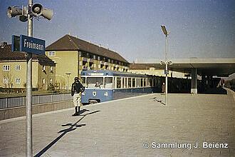 U-Bahnhof Freimann kurz nach Eröffnung 19. Oktober 1971