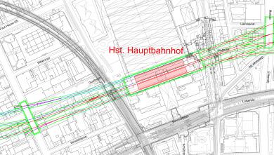 Lageplan Hauptbahnhof (U9) aus der vertieften Machbarkeitsplanung U9