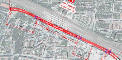 Lageplan des geplanten U-Bahnhofs Pasing