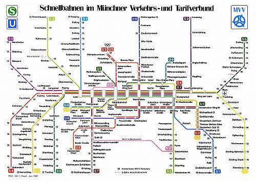 Schnellbahnnetzplan Juni 1991