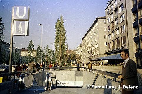 U-Bahnhof Giselastraße kurz nach Eröffnung 19. Oktober 1971