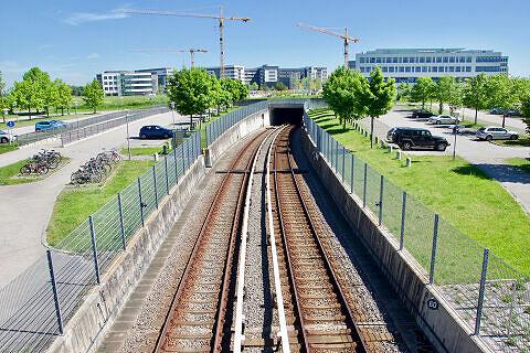 Tunnelrampe nördlich des U-Bahnhof Garching-Hochbrück (2017)