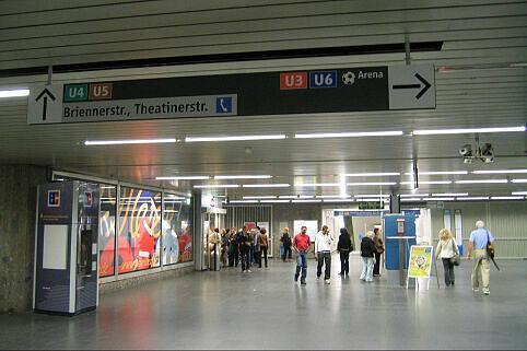 Leitsystem Odeonsplatz - Sperrengeschoß Odeonsplatz Blickrichtung Abgang U4/5