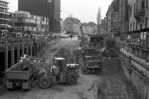 U-Bahn-Baustelle an der Münchner Freiheit 1969