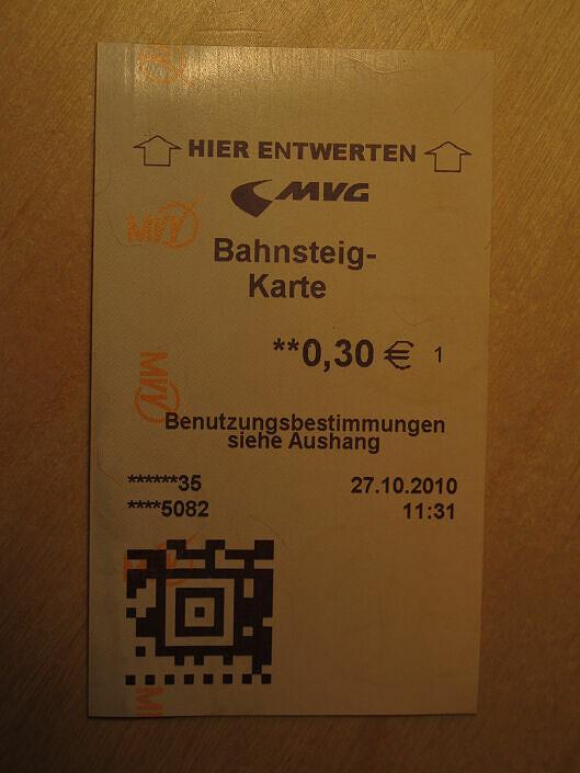 Barcode auf den Fahrkarten